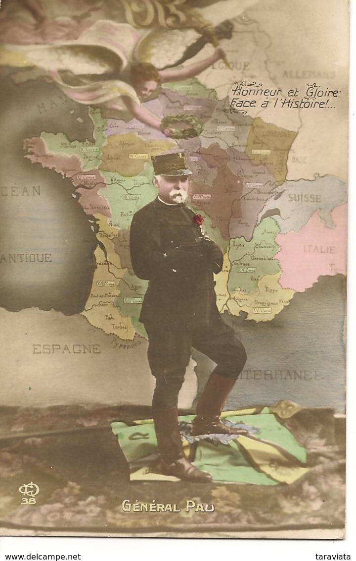 GÉNÉRAL PAU Militaire, Carte France, Victoire Ailée, Patriotique Guerre 1914-1918 - Heimat