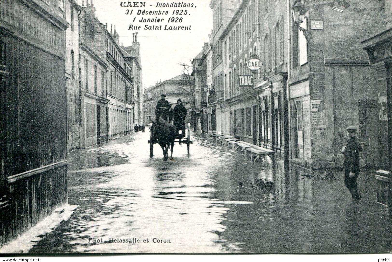 N°859 T -cpa Caen -inondations Rue Saint Laurent- - Caen