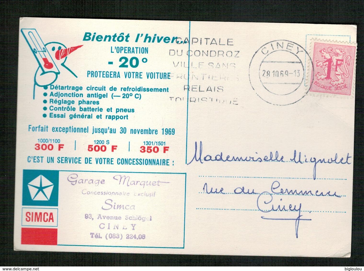 Publicité Garage Marquet - Agence Simca - CINEY - Werbepostkarten