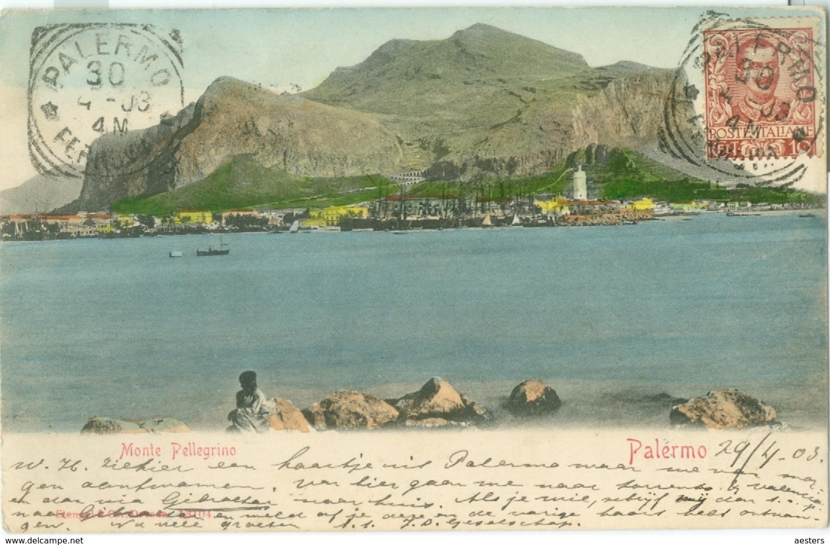 Palermo 1903; Monte Pellegrino - Viaggiata. (Stengel & Co. - Dresden) - Palermo