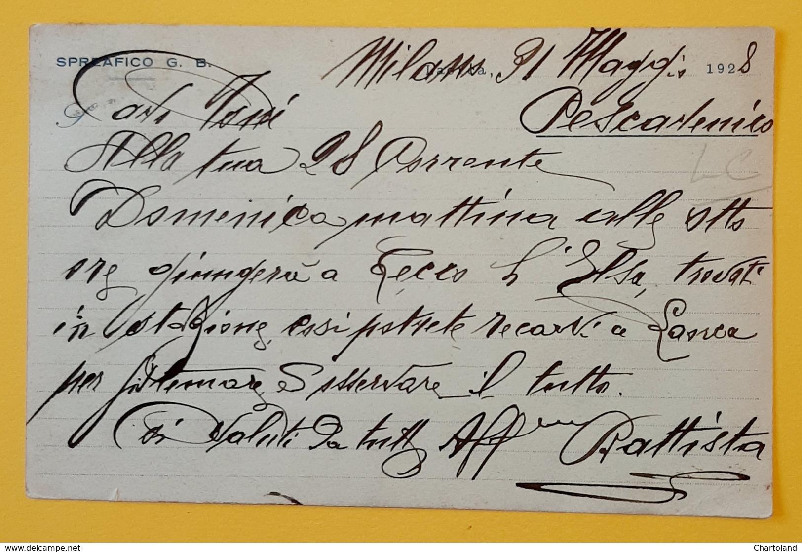Cartolina Fabbrica Di Ferramenta - Spreafico G. B. - 1928 - Pubblicitari