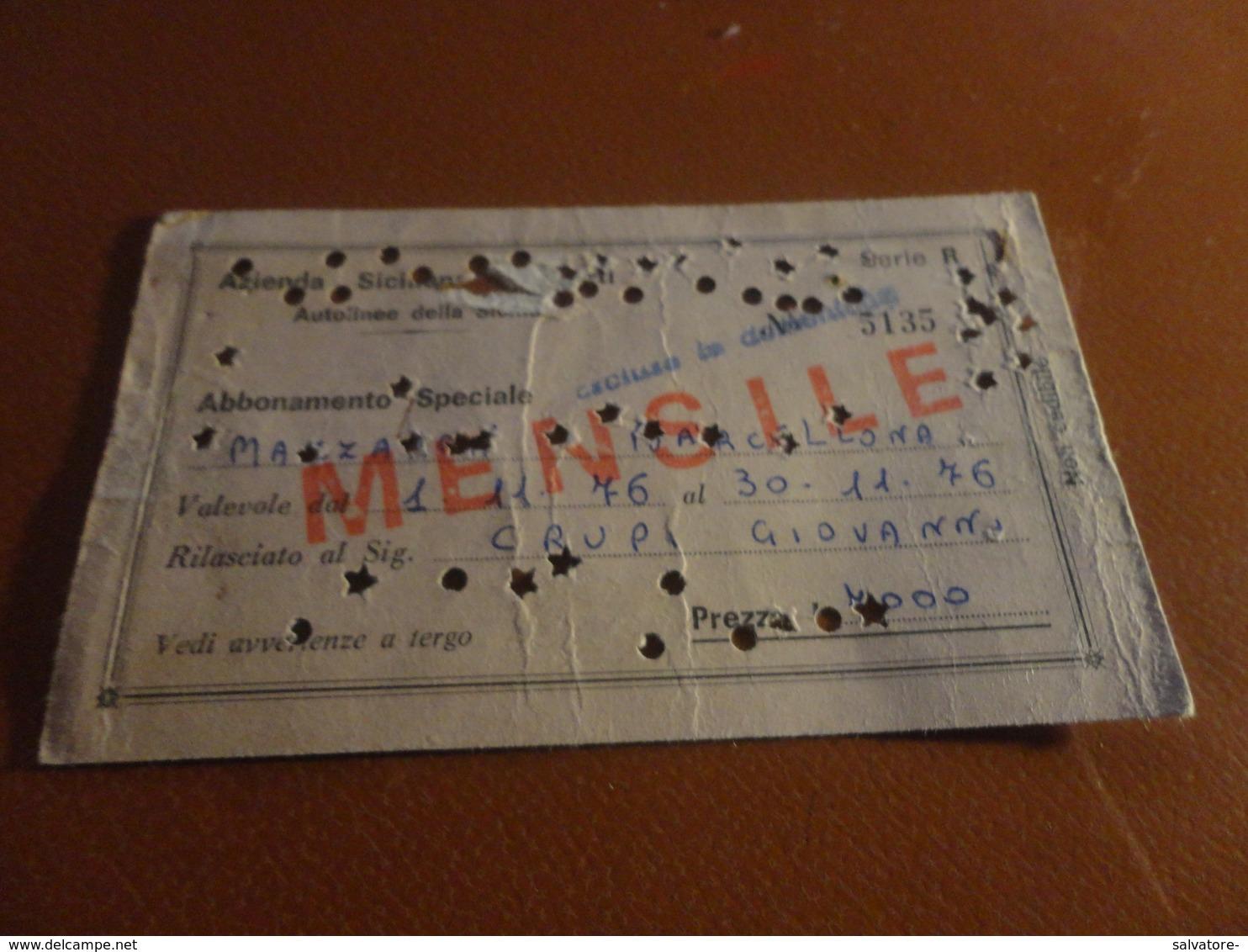 BIGLIETTO ABBONAMENTO SPECIALE MAZZARINI-BARCELLONA - 1976 - Europa