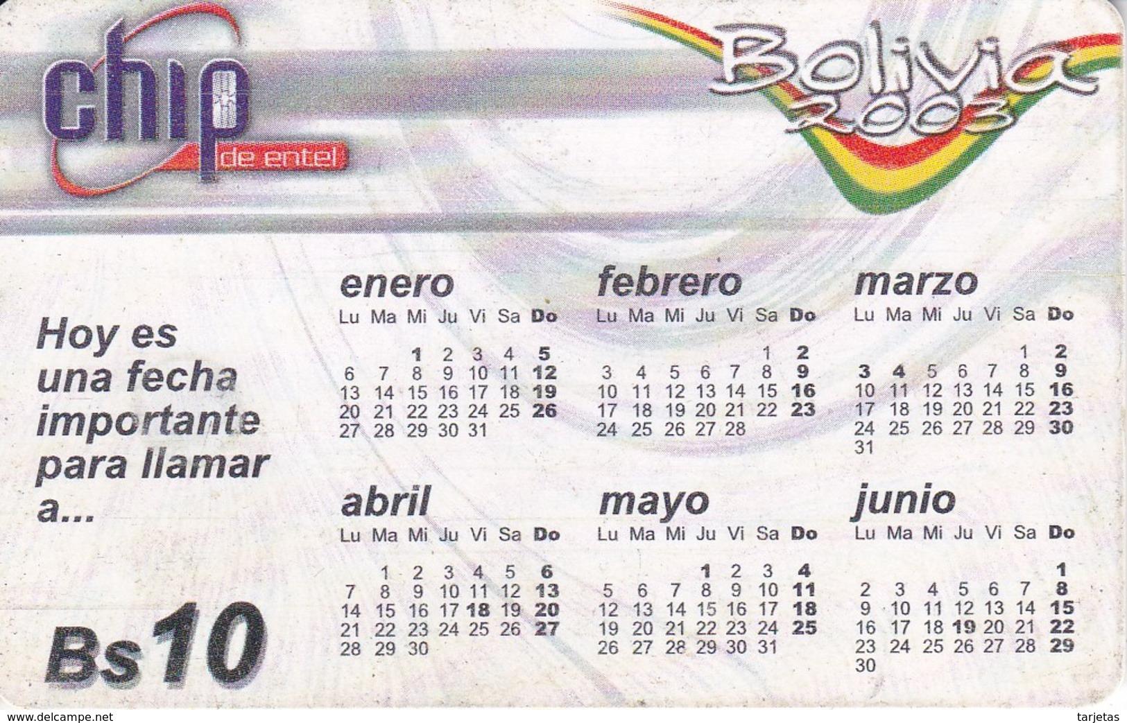 TARJETA CON CHIP DE BOLIVIA DE UN CALENDARIO DEL AÑO 2003 - Bolivia