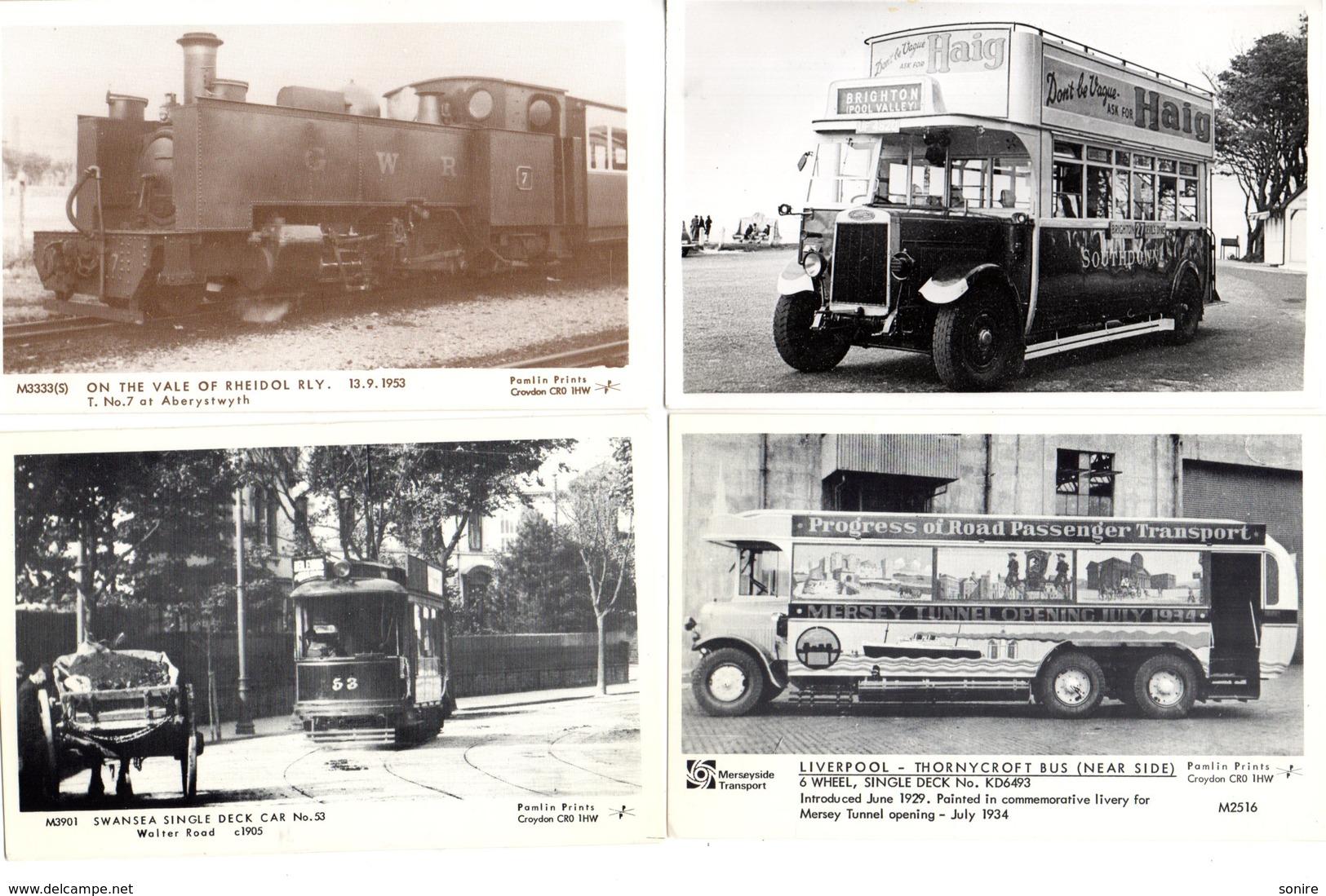 4 OLD POSTCARDS BUS COACHES PAMLIN PRINTS - Postcards