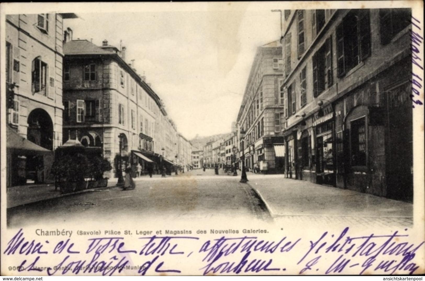 Cp Chambery Savoie, La Plâce St. Leger Et Magasins Des Nouvelles Galeries - Francia