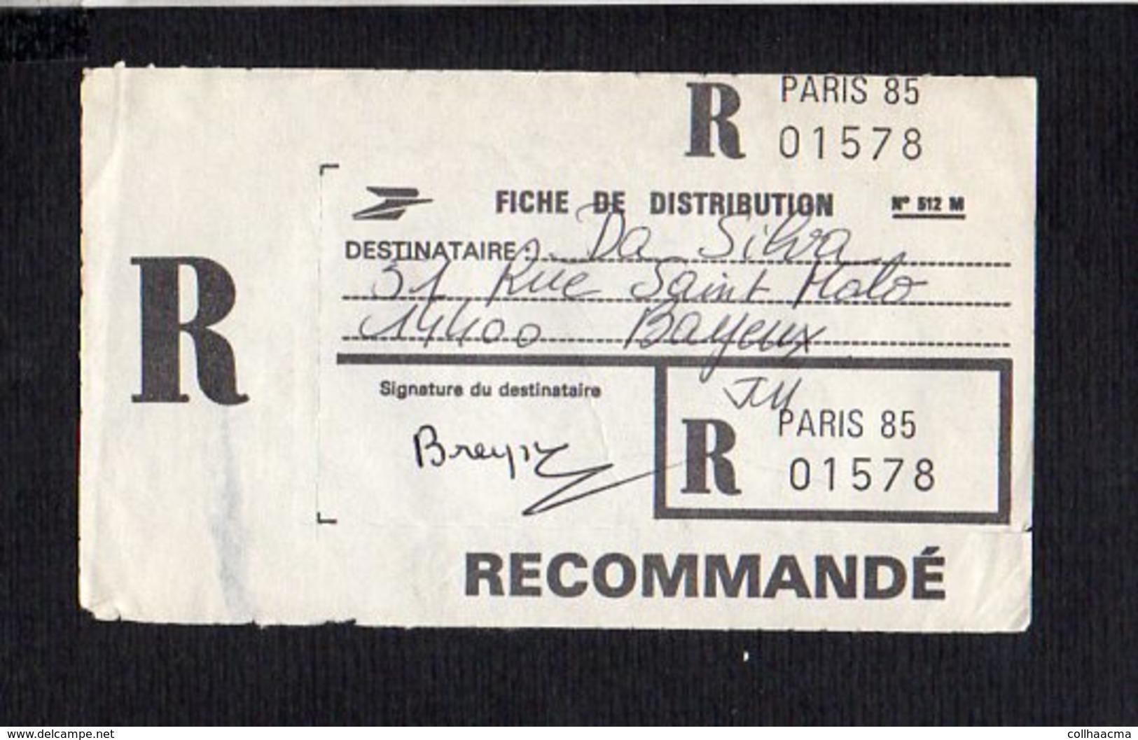 1987 Environs / De Paris 85 Pour Bayeux 14 / Fiche Distribution D'un Colis Postal En Recommandé Avec Signature - Marcofilie (Brieven)