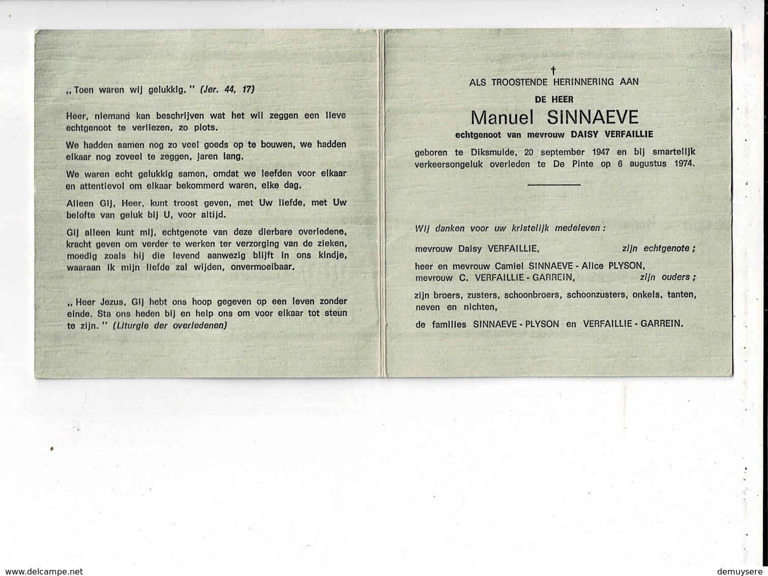 DP 9367 - MANUEL SINNAEVE - VERFAILLIE - DIKSMUIDE 1947 + VERKEERSONGEVAL - DE PINTE 1974 - Images Religieuses