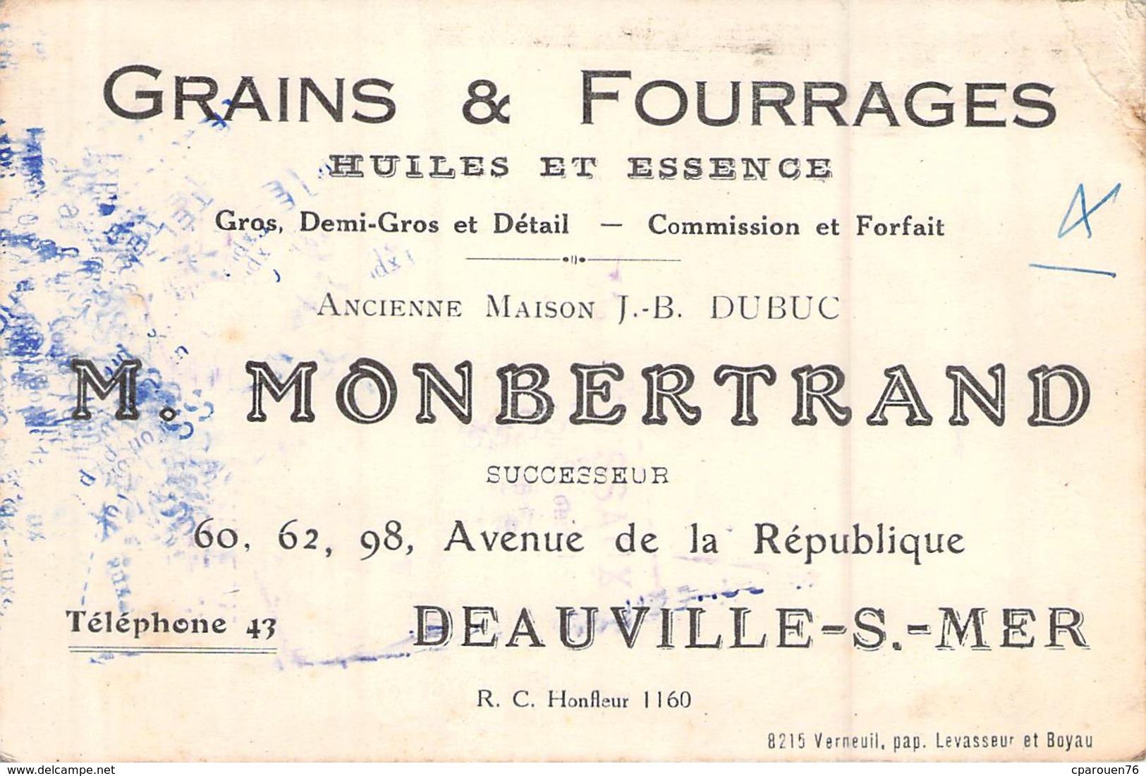 Carte De Visite GRAINS FOURRAGES HUILES ESSENCES MONBERTRAND DEAUVILLE SUR MER 14 AE DE LA REPUBLIQUE 60.62.98 - Visiting Cards