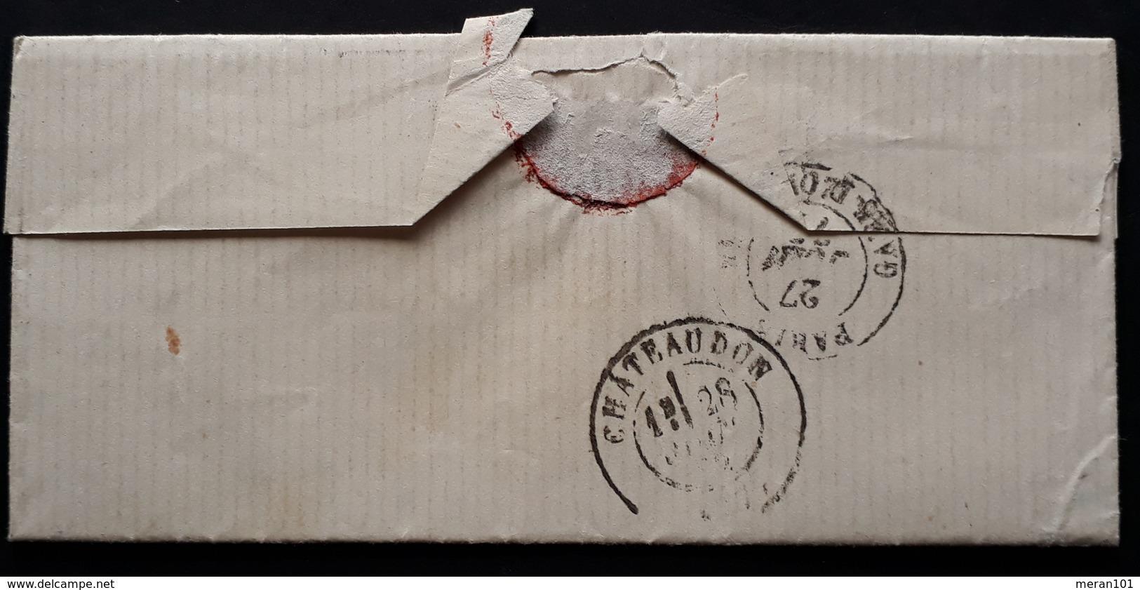 "Frankreich 1872, Brief ""PP"" PARIS Gelaufen CHATEAUDON - 1871-1875 Ceres"