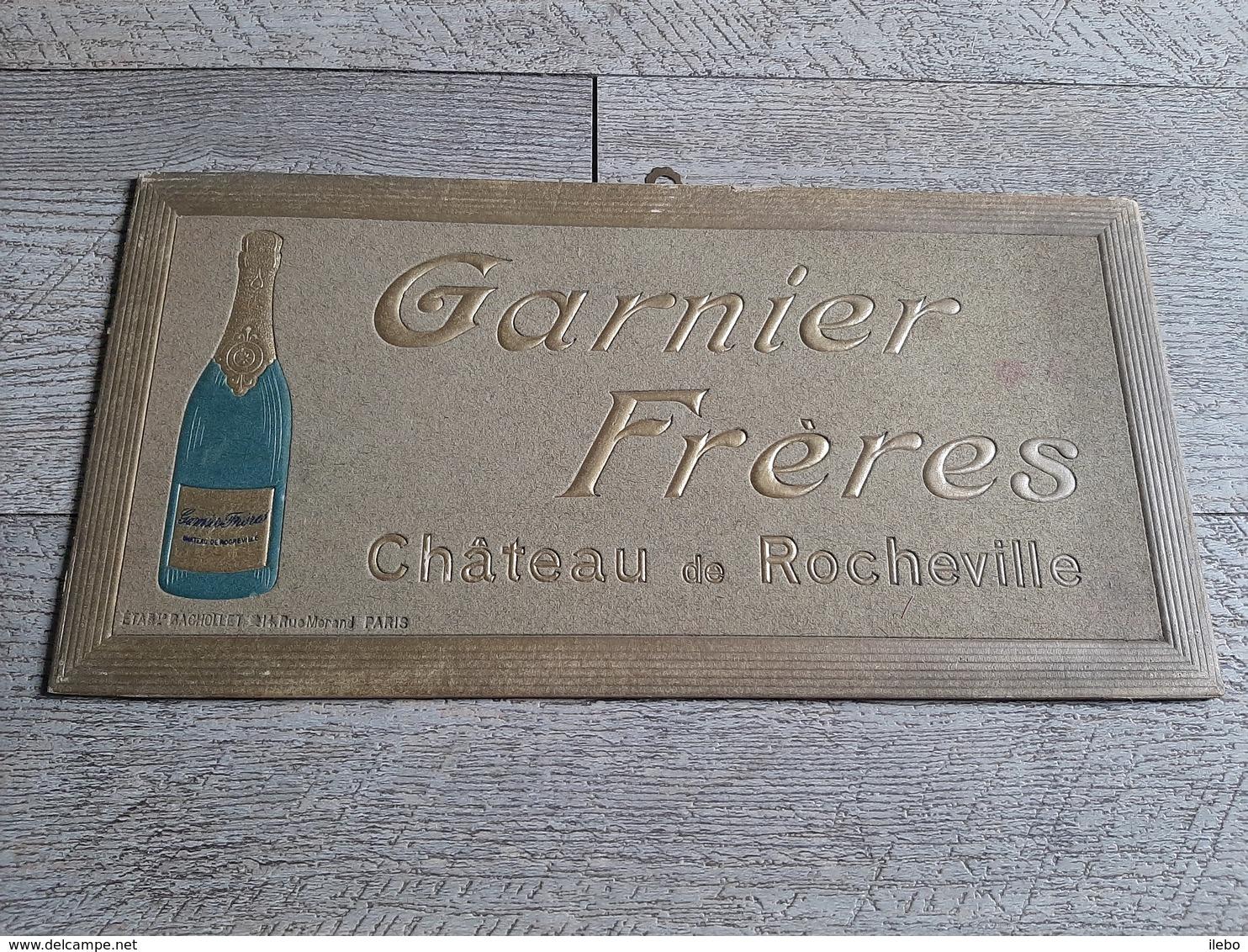 Carton Publicitaire Vin  Garnier Frères Chateau De Rocheville Bistrot Publicité - Plaques En Carton