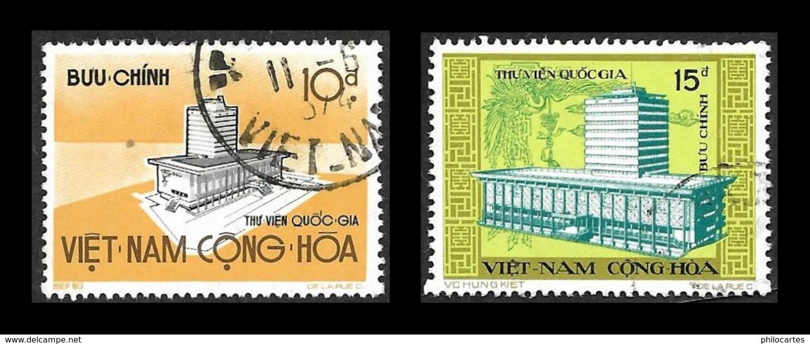 VIETNAM  Du Sud 1974 - YT  484 Et 485   - Bibliothèque Nationale  - Oblitéré - Vietnam