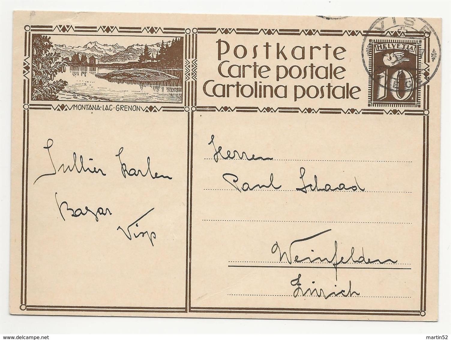 "Schweiz Suisse 1930:  Bild-PK / CPI ""MONTANA-LAC-GRENON"" Mit O VISP 2.I.30  Nach Weinfelden (THURGAU) - Interi Postali"