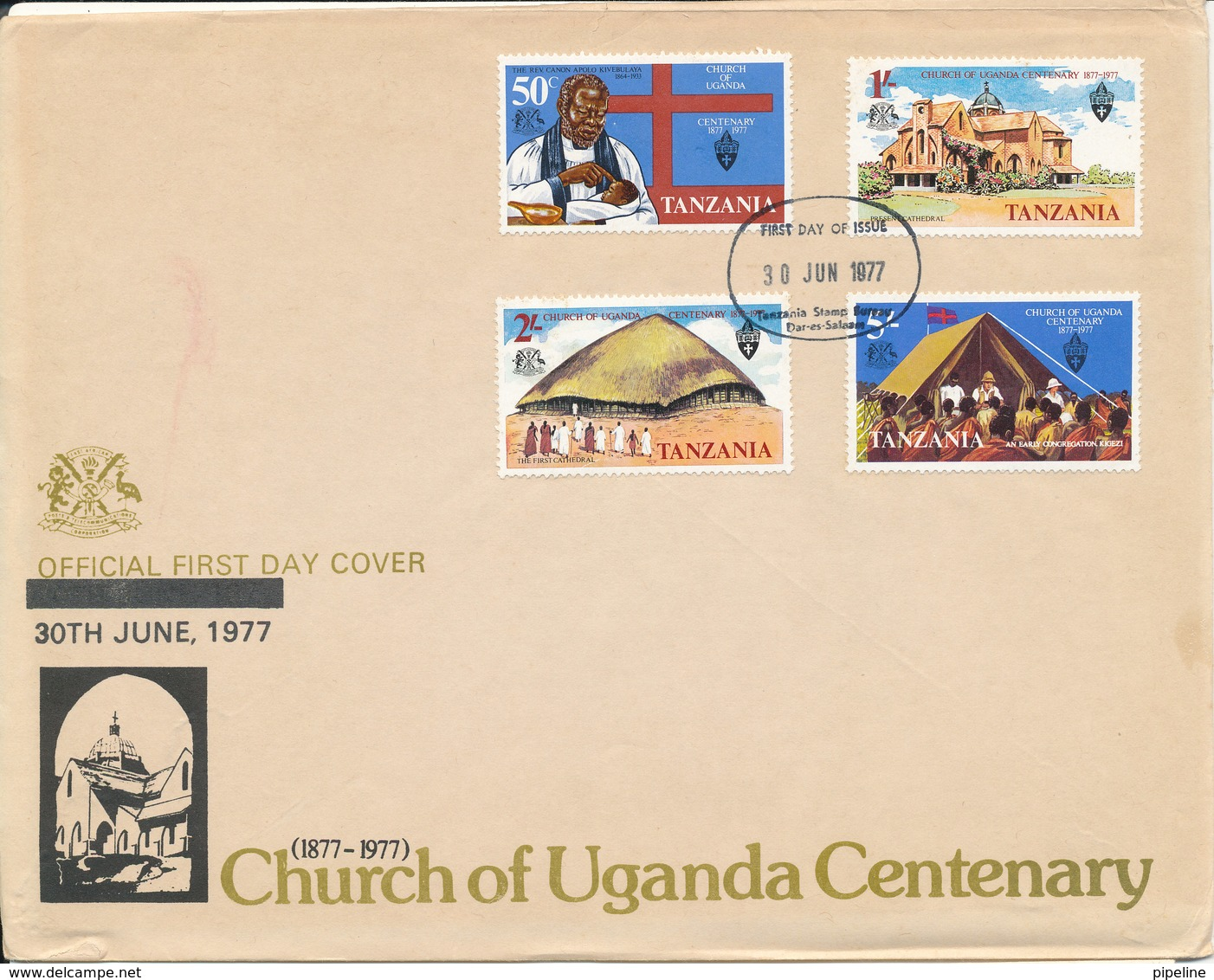 Tanzania FDC 30-6-1977 Church Of Uganda Centenary Complete Set Of 4 With Cachet (a Little Tear At The Tiop Of The Cover) - Tanzanie (1964-...)
