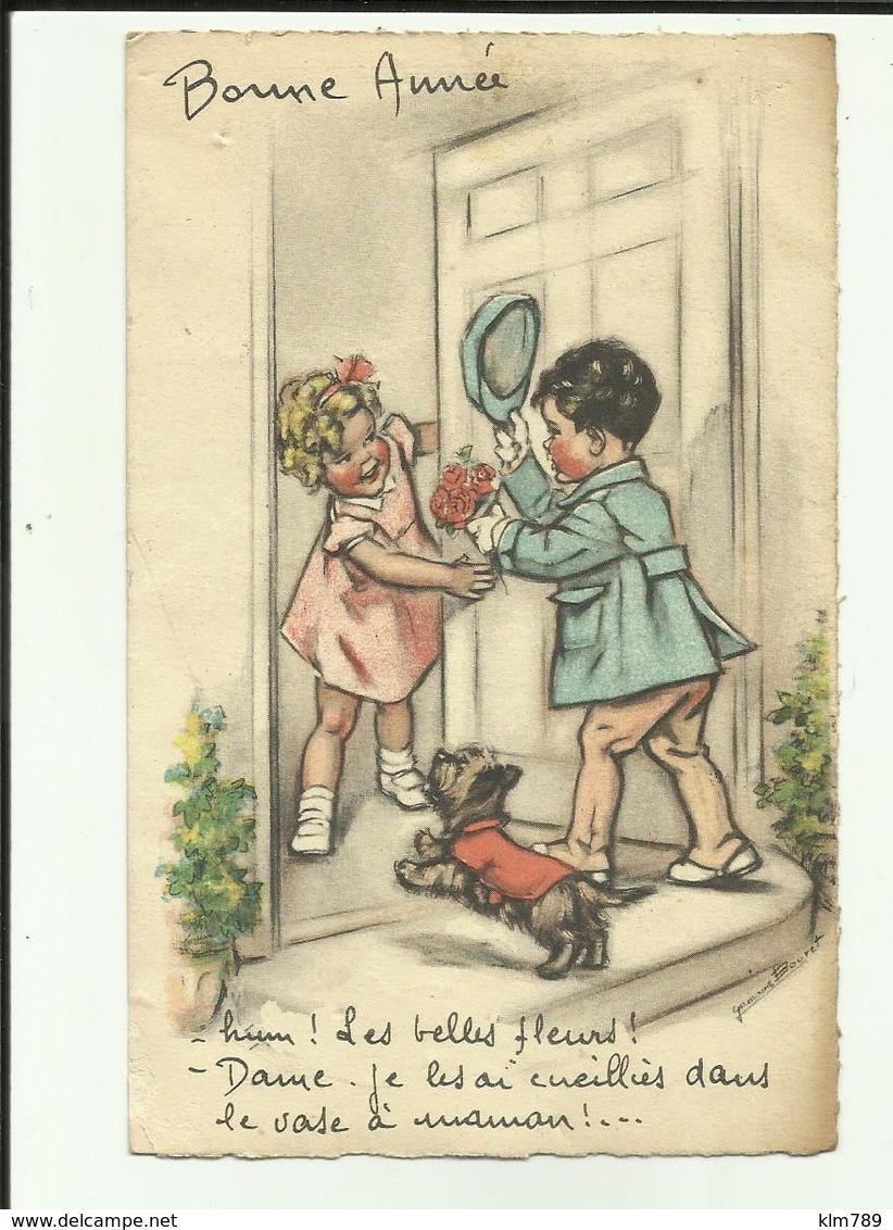 """Carte Germaine Bouret - Illustrateur - """" Hum ! Les Belles Fleurs ! Dame , Je Les Ai Cueillies Dans Le Vase à Maman !.."""" - Bouret, Germaine"""