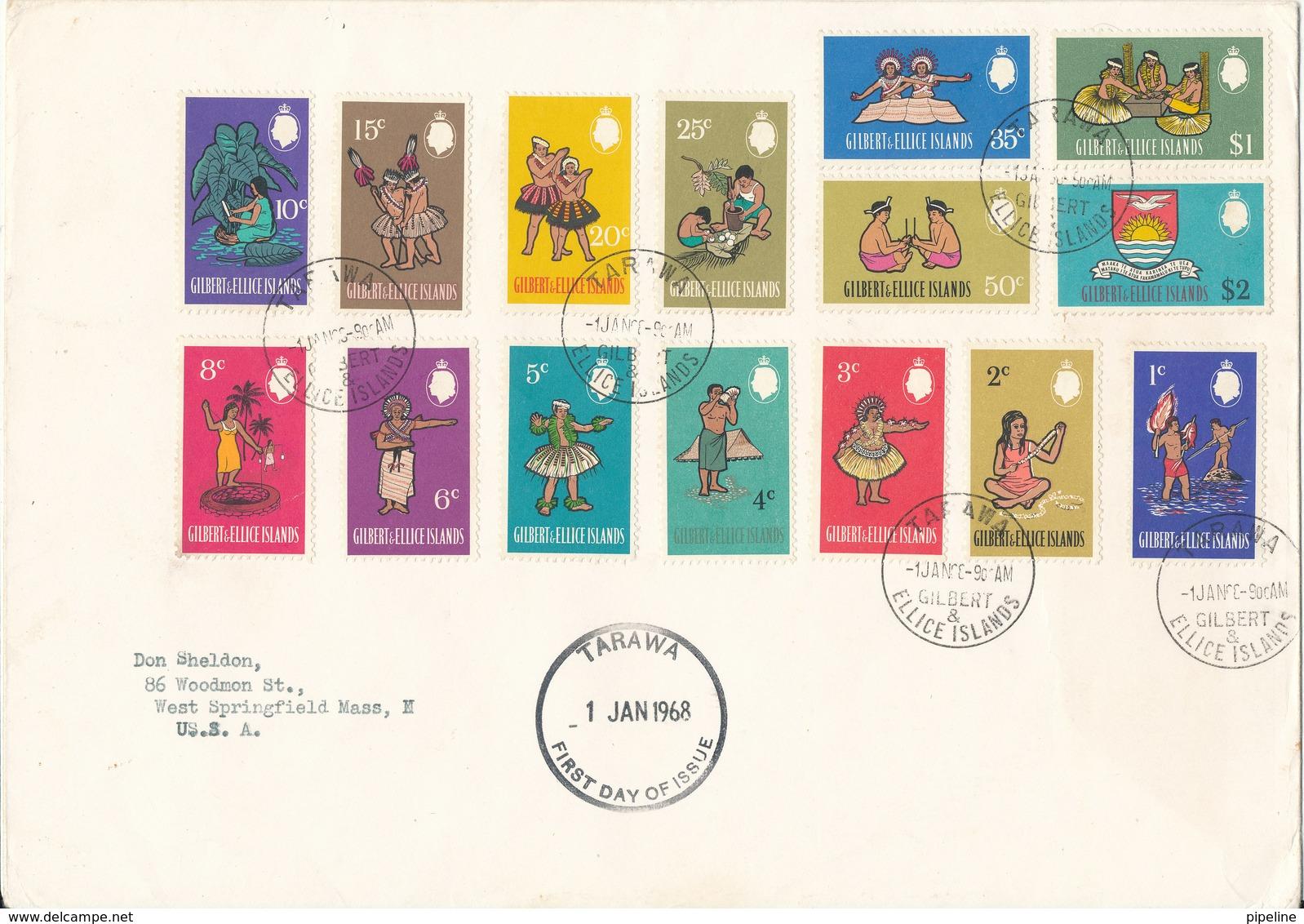 Gilbert Ellice Islands FDC 1-1-1968 Definitives Complete Set Of 15 Stamps Sent To USA - Gilbert & Ellice Islands (...-1979)