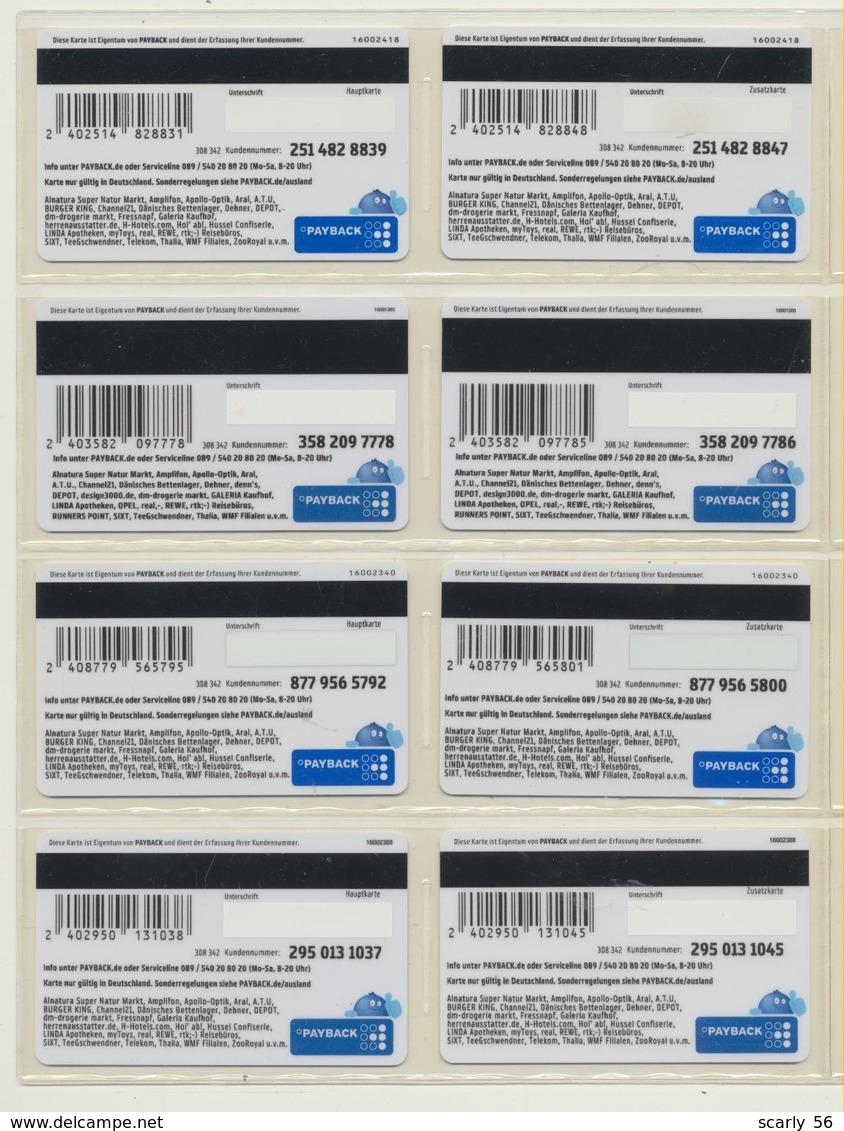 8 Payback Karten ( Jeweils Haupt- Und Zusatzkarte ) 4 Motive  !!!!   ( 28 ) - Andere