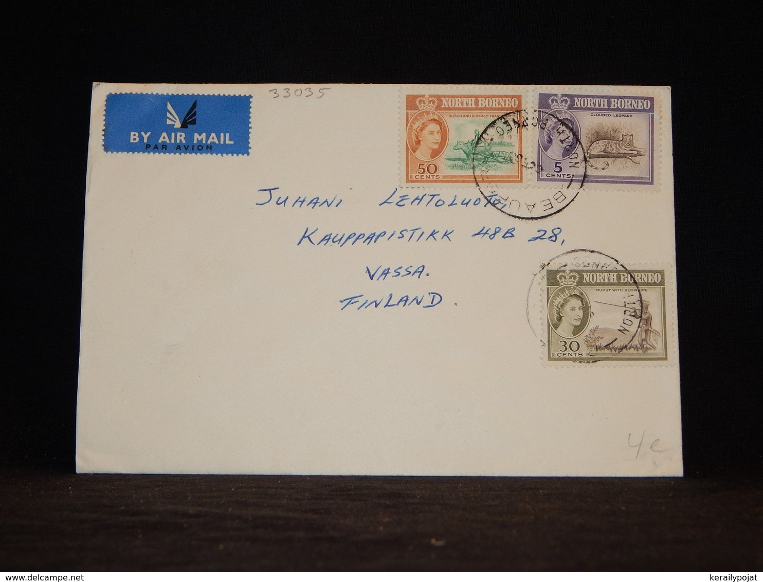 North Borneo 1963 Beaufort Air Mail Cover To Finland__(L-33035) - Borneo Septentrional (...-1963)