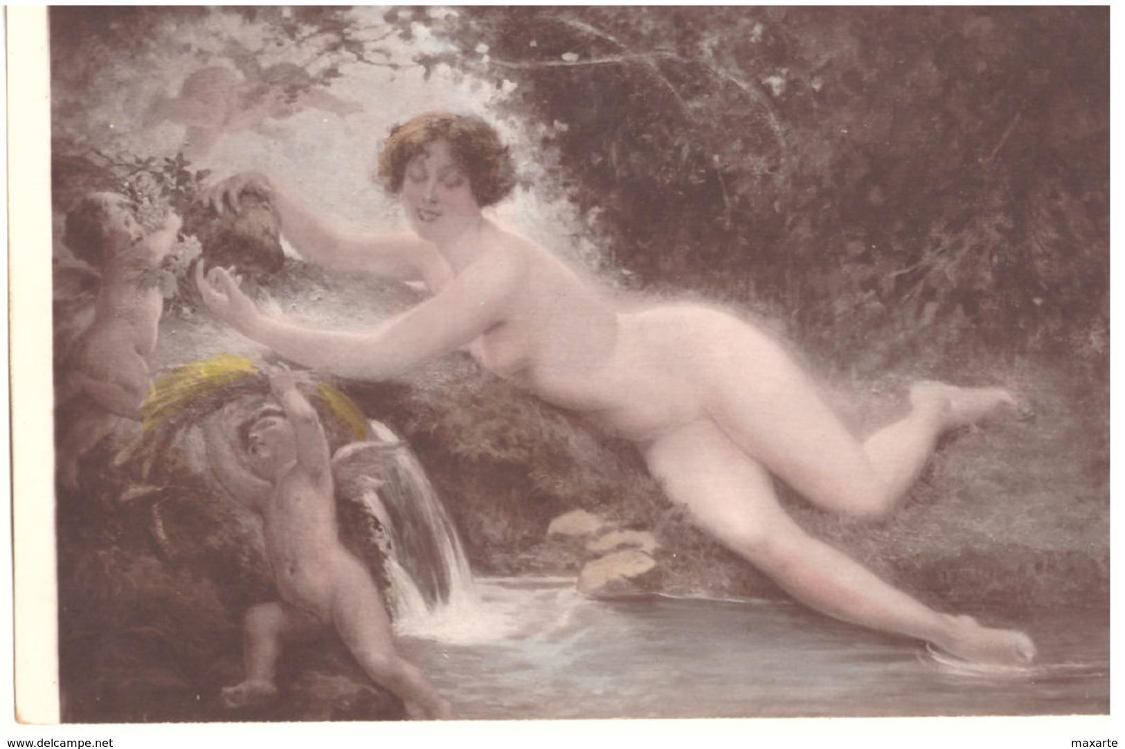 SALON 1912   ALBERT FOURIE  LA NIMPHE DE LA SOURCE--- NUDO  NU --- R0015 - Arts