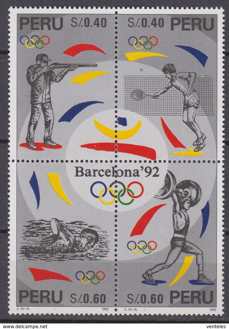 Peru10.06.1996 Mi # 1576-79 Viererblock,Barcelona Summer Olympics, MNH OG - Verano 1992: Barcelona