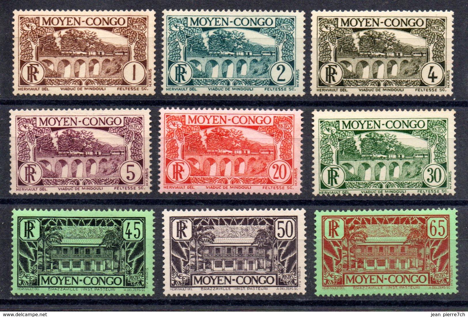 Congo Französisch Kongo Y&T 113*, 114*, 115**, 116(*), 119*, 121**, 123* - 125*, 126(*), 128**, 129A*, 130* - Ungebraucht