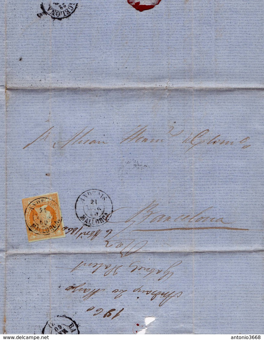 Año 1860 Edifil 52 Sello 4 C De Isabel II Carta Matasellos Tipo II Andrais Mallorca - 1850-68 Kingdom: Isabella II