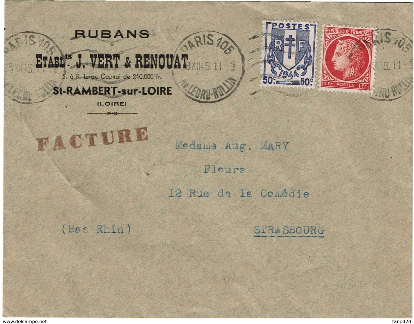 LCTN59/ALS 2 -  LETTRE  PARIS / STRASBOURG 8/12/1945 - France