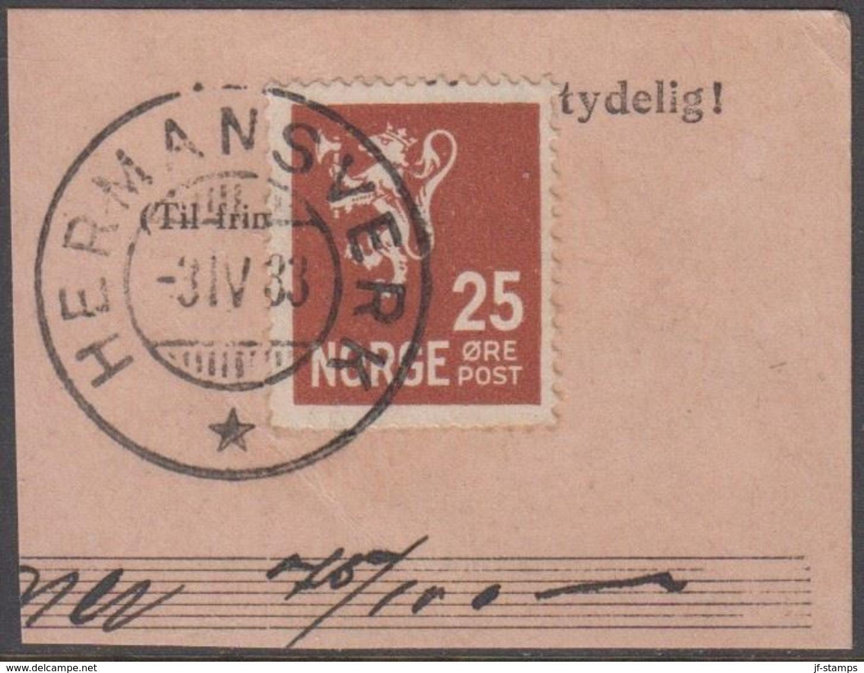 1927. New Liontype. 25 øre Orange Brown. LUXUS HERMANSVERK -3.IV.33 (Michel 126) - JF318129 - Gebraucht