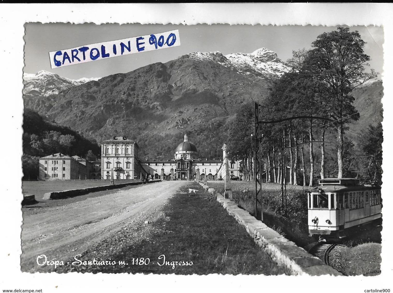 Piemonte Biella Oropa Veduta Particolare Treno Per Oropa In Sosta Ingresso Santuario Anni 50 - Trains