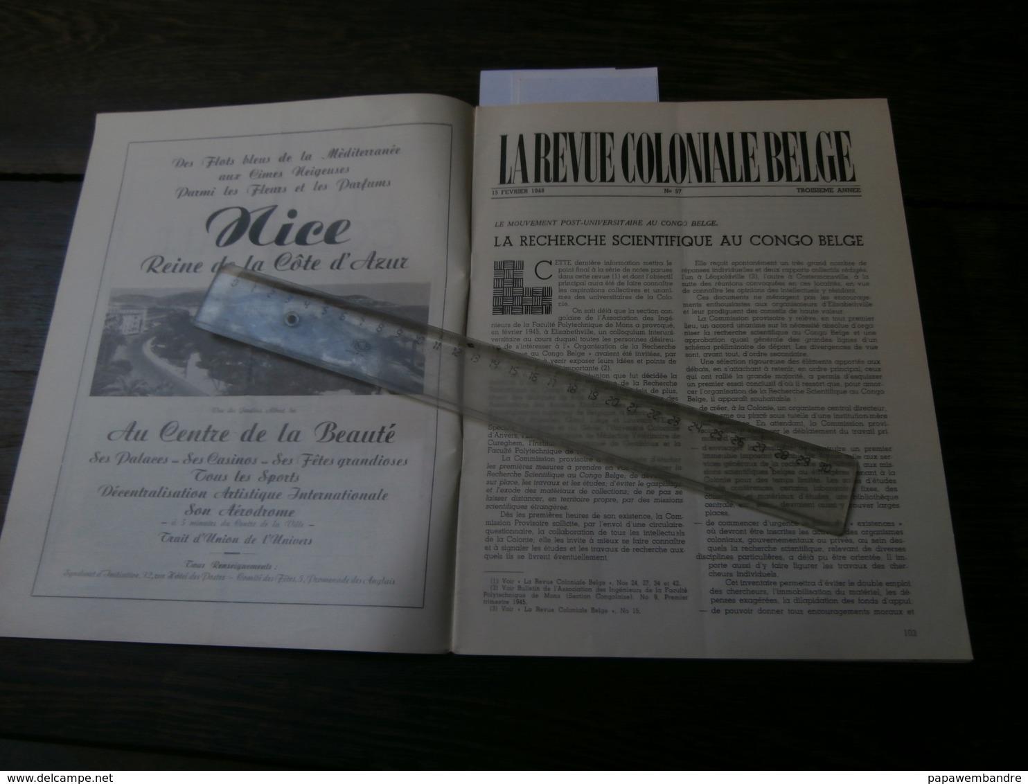 La Revue Coloniale Belge 57 (15/02/1948) : Congo, Sanga, Loterie Col., G Pacha, - 1900 - 1949