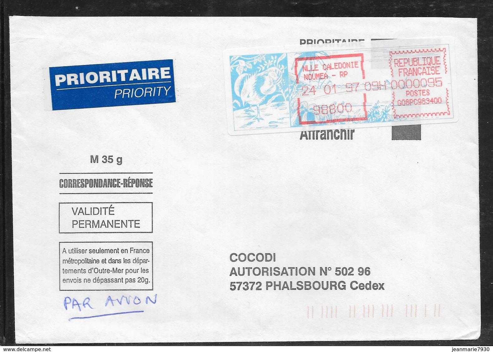 1712003 - LETTRE DE NOUMEA RP (NOUVELLE CALEDONIE) DU 24/01/97 POUR PHALSBOURG - Poststempel (Briefe)