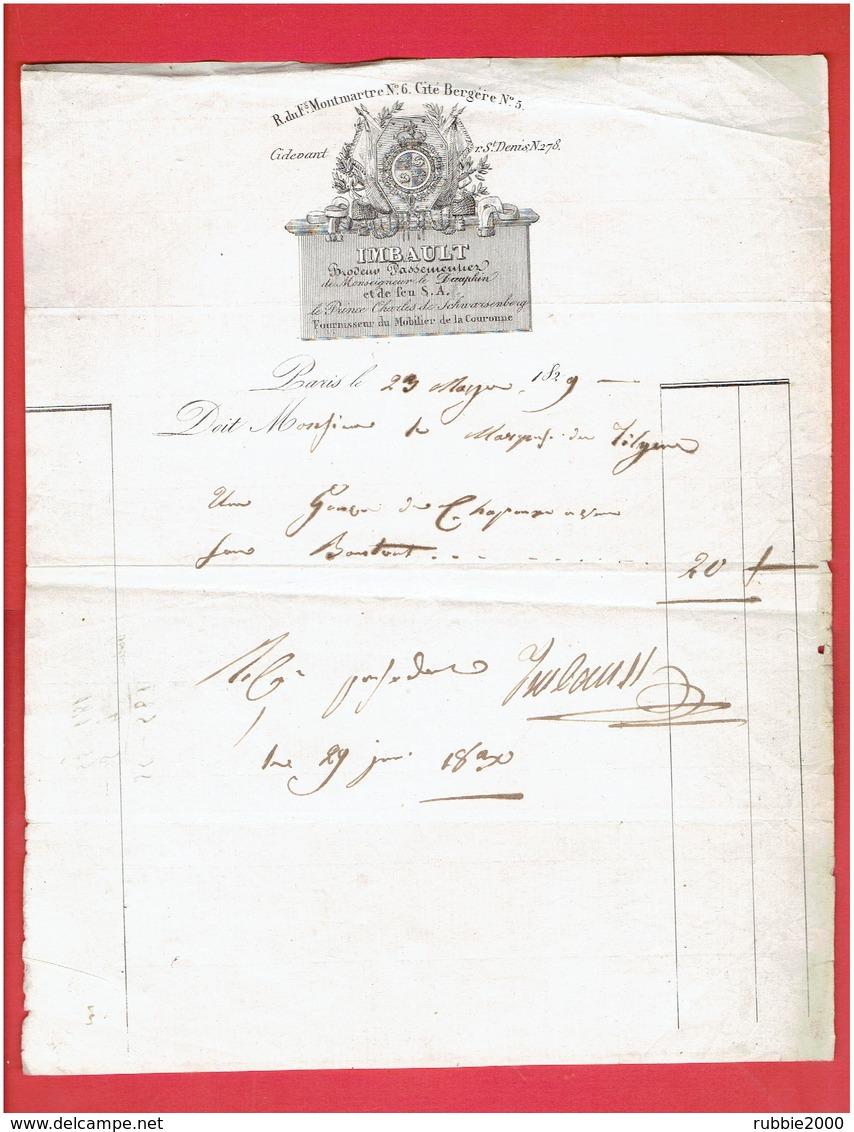 FACTURE 23 NOV. 1829 IMBAULT BRODEUR PASSEMENTIER 6 RUE FAUBOURG MONTMARTRE 5 CITE BERGERE A PARIS  278 RUE SAINT DENIS - France