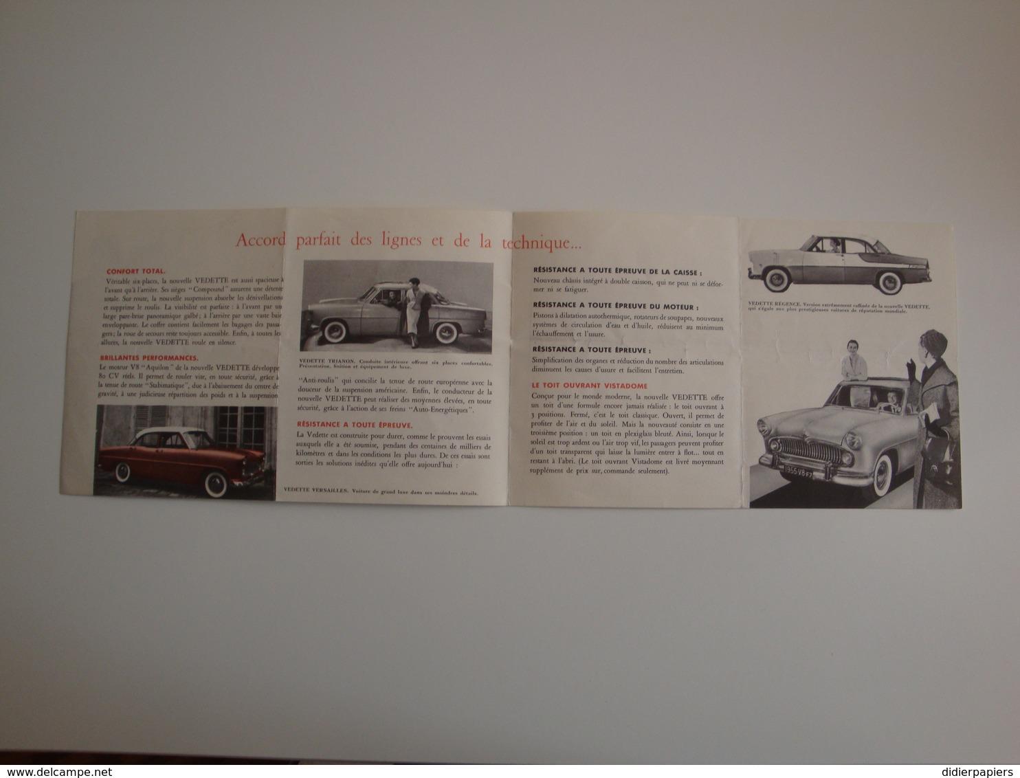 Automobile - Belle Plaquette Publicitaire (originale) Pour La Nouvelle VEDETTE,construite Par Ford à Poissy, - Cars