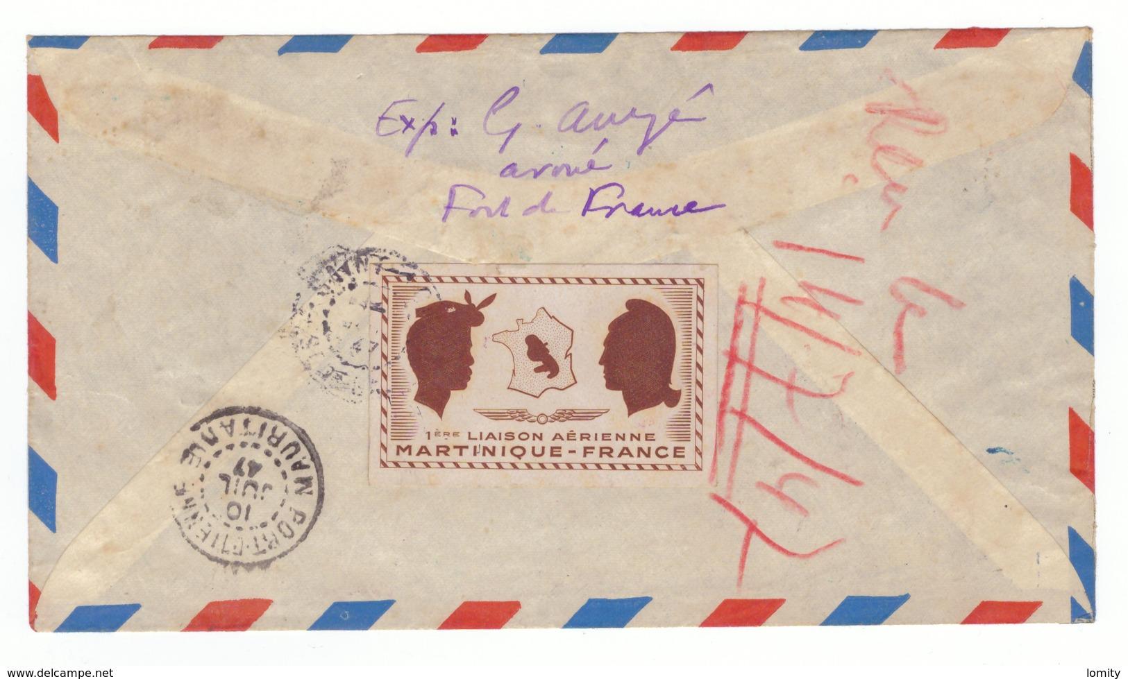 Martinique Lettre à Destination Du Sénégal Vignette + Cachet Première Liaison Aerienne Directe France 8 Juillet 1947 - Martinique (1886-1947)