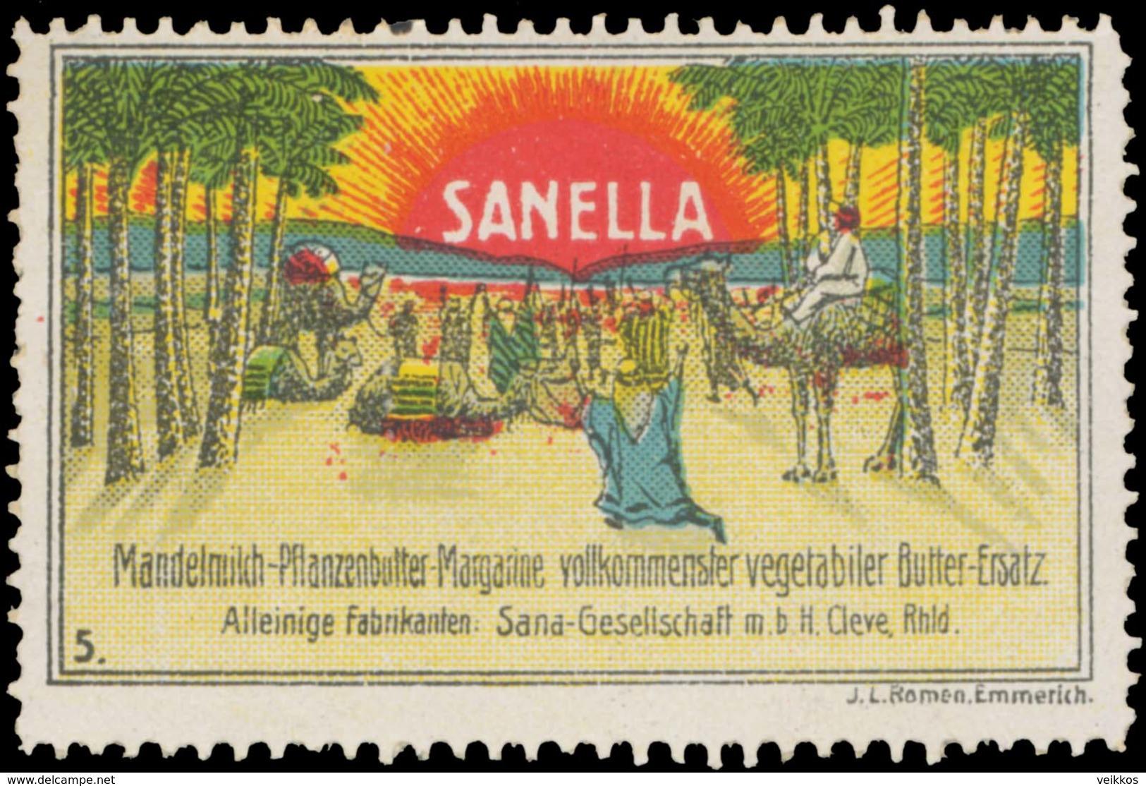 Kleve: Sanella Mandelmilch-Pflanzenbutter-Margarine Reklamemarke - Cinderellas