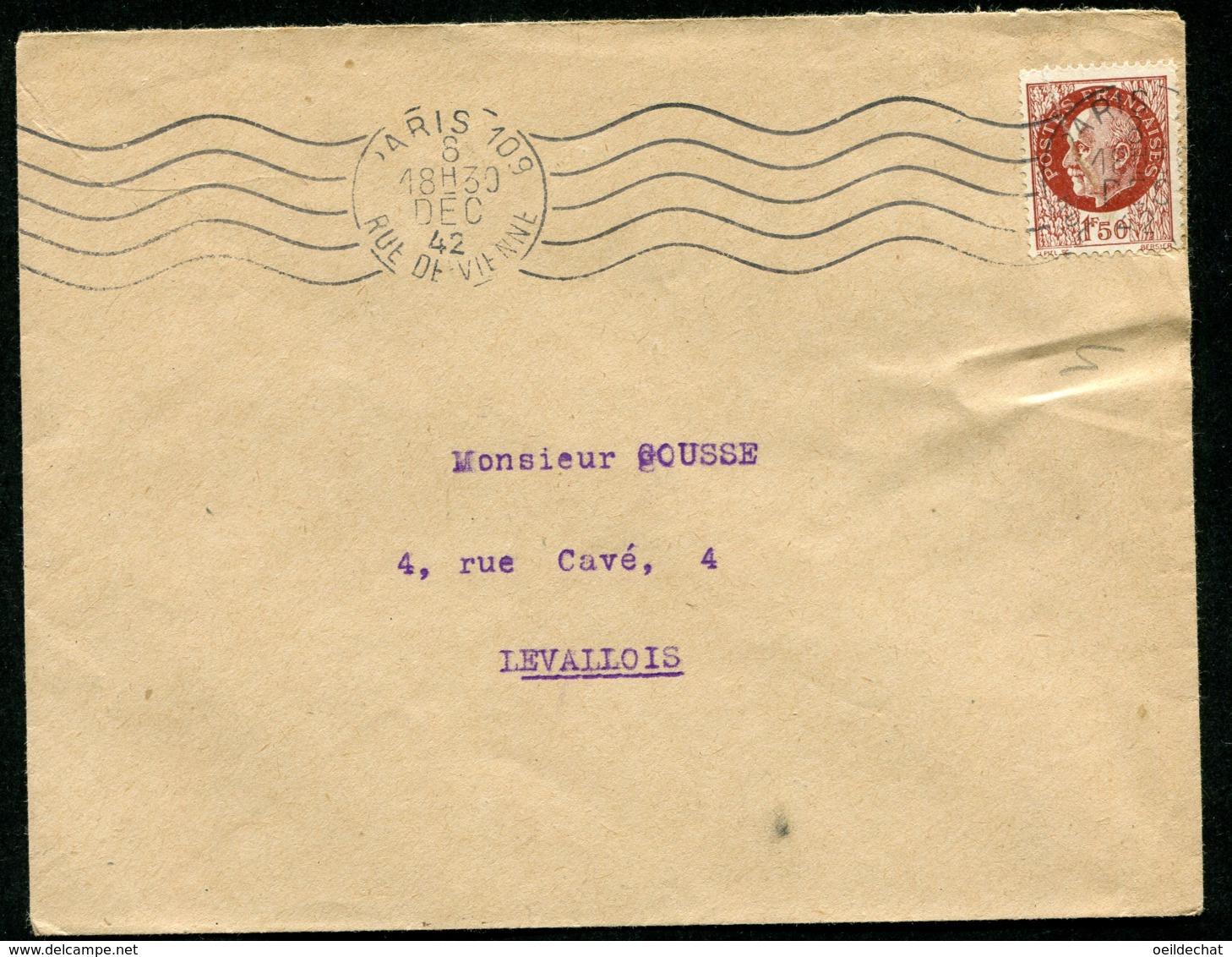 16192 FRANCE N°517° Flamme Muette  Paris 109 Rue De Vienne  Du  8.DEC.1942  TB - Marcophilie (Lettres)