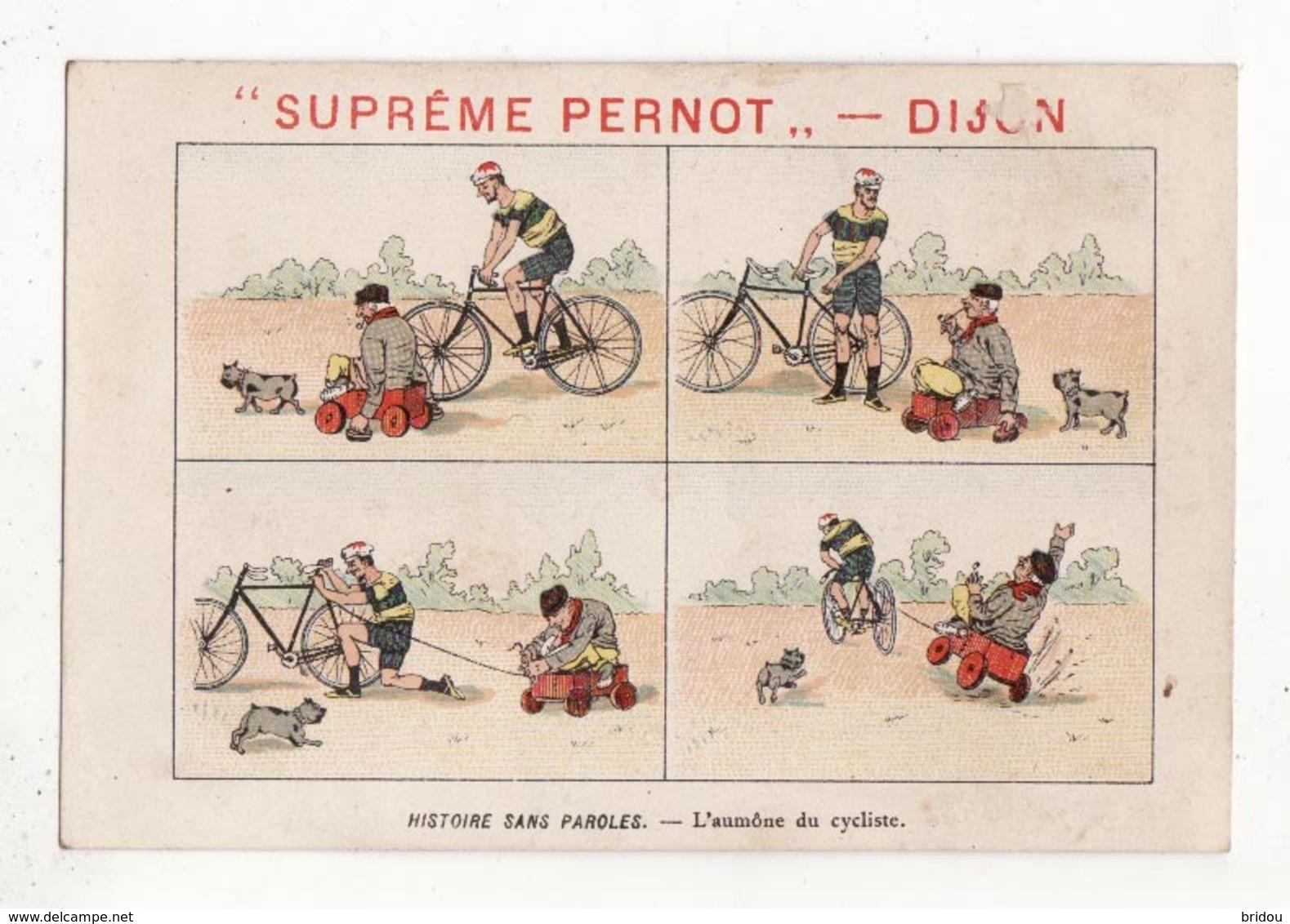 Chromo  BISCUITS PERNOT   Histoire Sans Paroles    Cycliste - Pernot