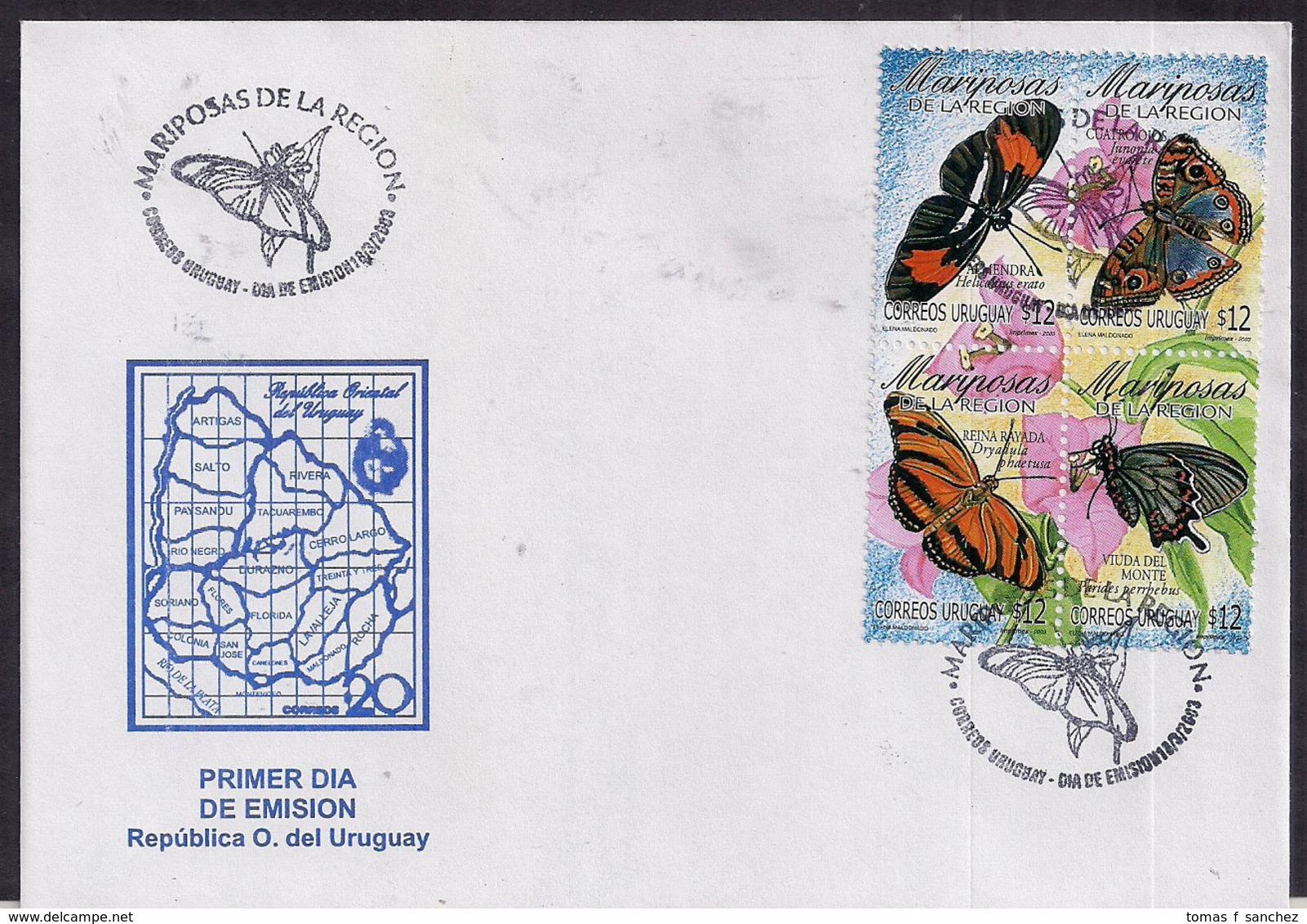 Uruguay - 2003 - FDC - Papillons De La Région - Butterflies