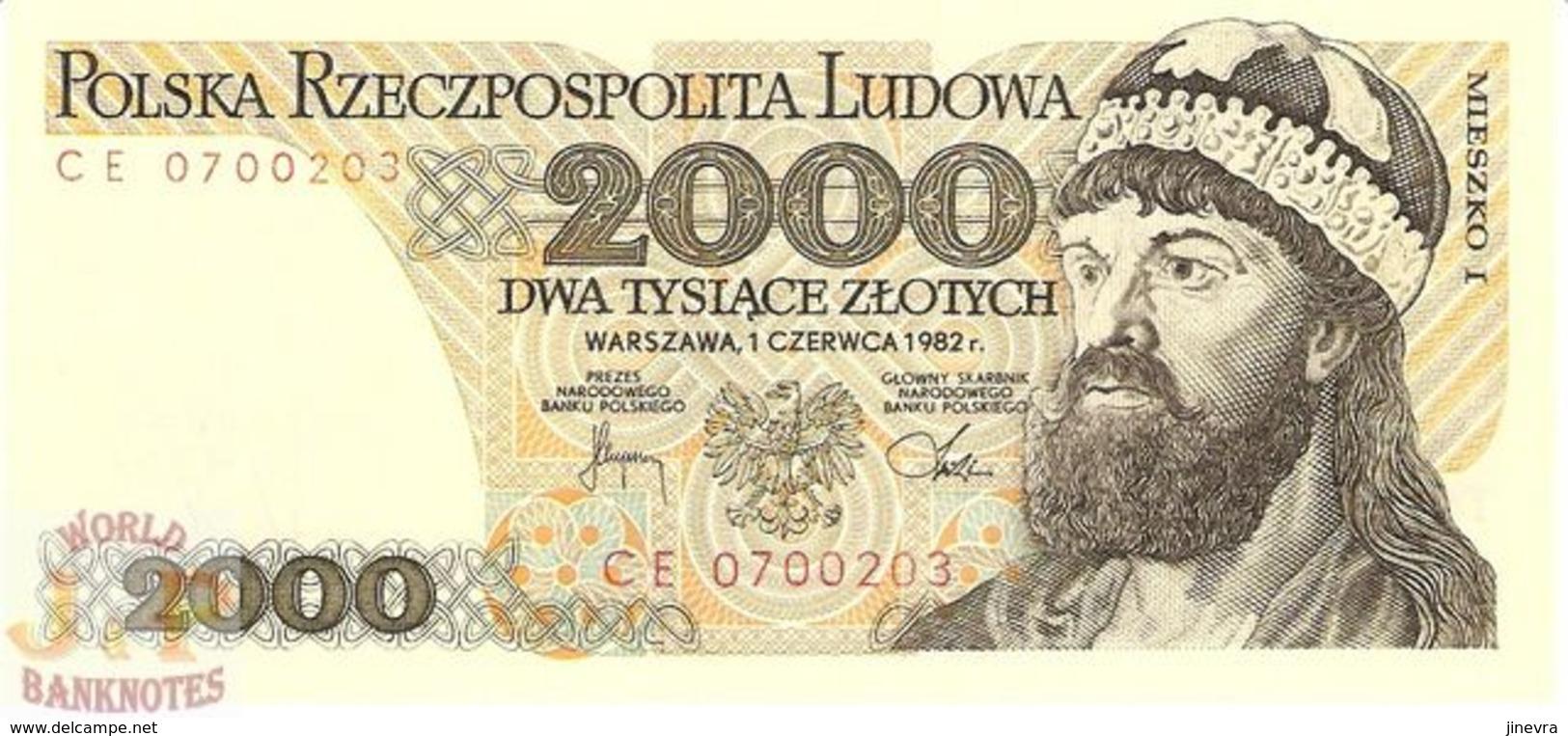 POLAND 2000 ZLOTYCH 1982 PICK 147c UNC - Polonia