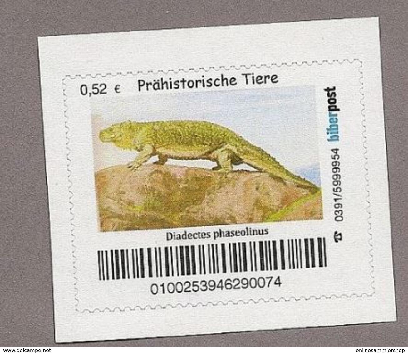 BRD - Privatpost - Biberpost - Prähistorische Tiere - Diadectes Phaseolinus - Postzegels