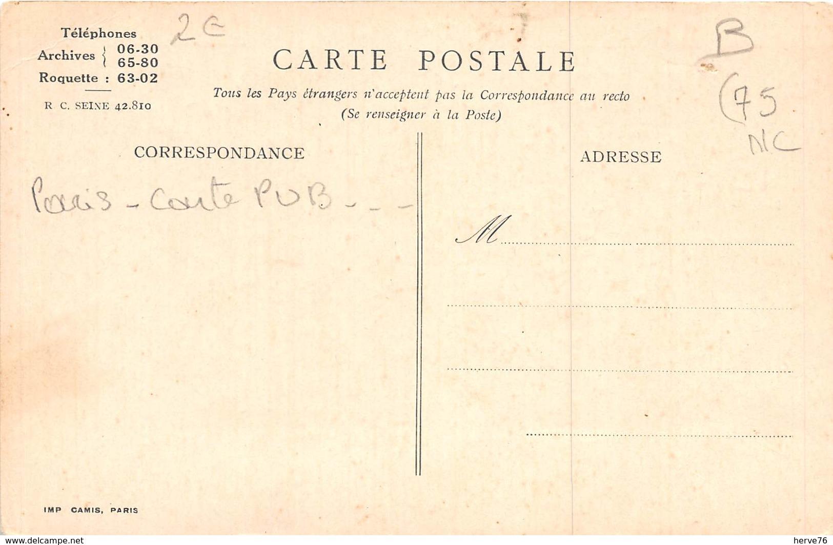 PARIS - Carte Publicitaire - La Belle Au Bois Dormand Au LIT D'OR - Rue Rambuteau - Avenue Ledru-Rollin - Francia
