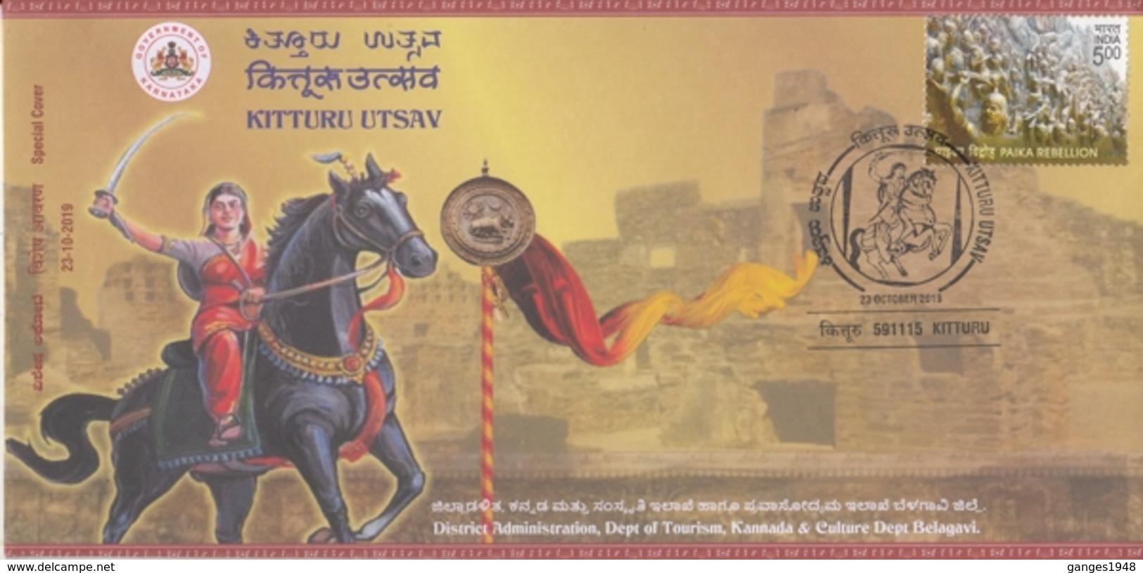 India  2019  Horse Rider Warrior  Kitturu Rani Chennamma  Special Cover  #  24593  C&D Indien Inde - Horses