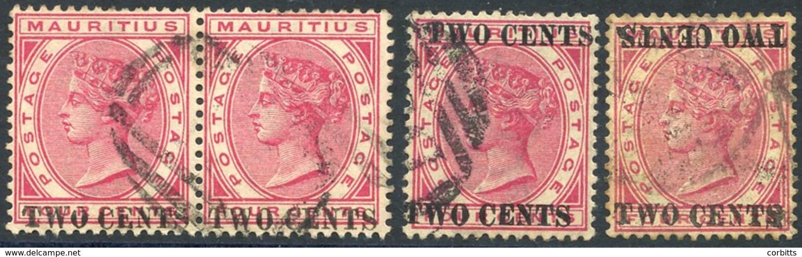 1891 2c On 4c Carmine, VFU Pair, SG.118, Single Optd Double, Another Optd Double One Inverted, Good U, SG.118/a/c. (4) C - Non Classés