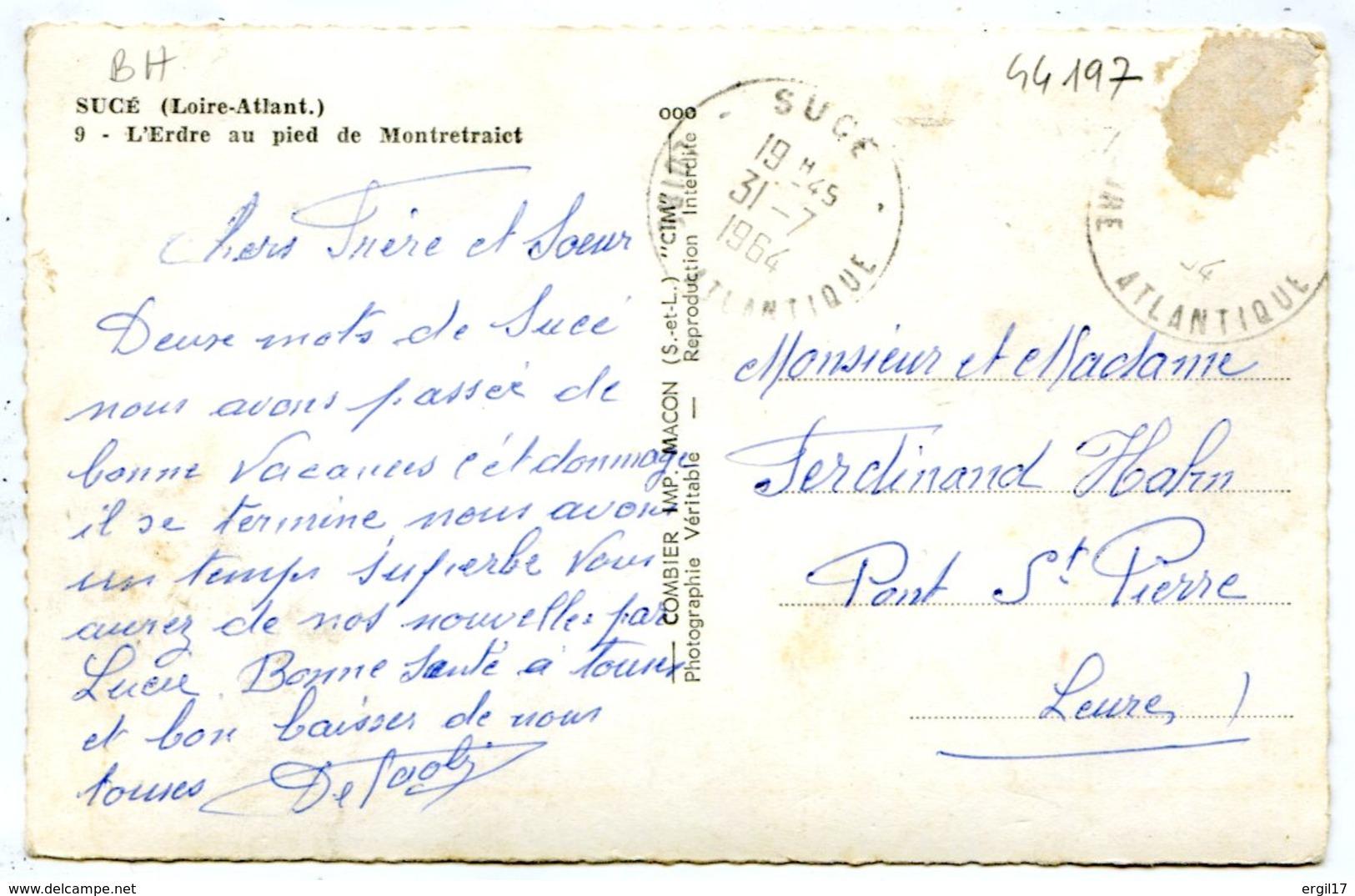 44240 SUCÉ - L'Erdre Au Pied De Montretraict, Péniche Le Cygne - CPSM 9x14 Photo Véritable - France