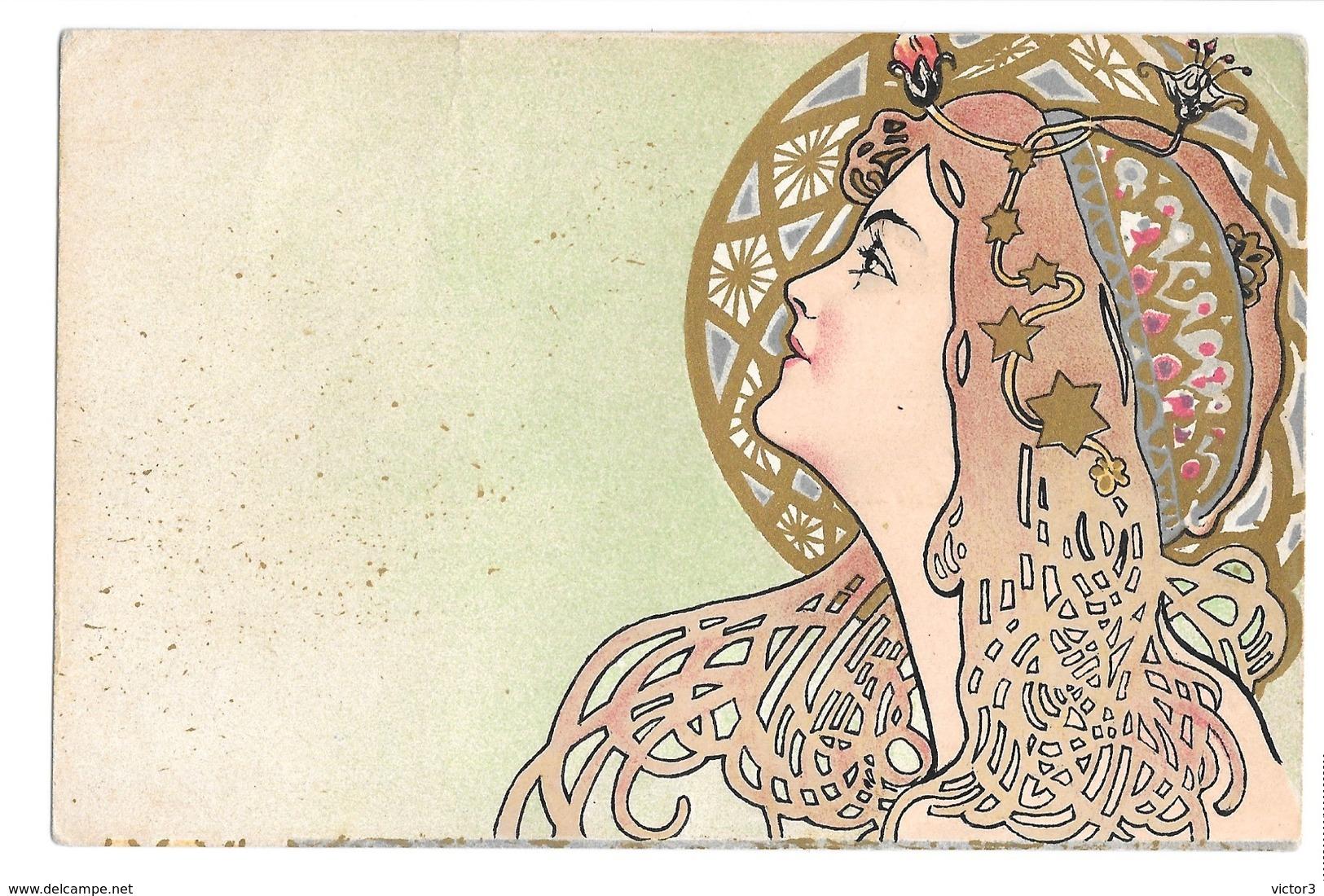 CPA HENRI MEUNIER FEMME OREOLE ART NOUVEAU + AIX LES BAINS EXCEPTIONNEL!!! - Autres Illustrateurs