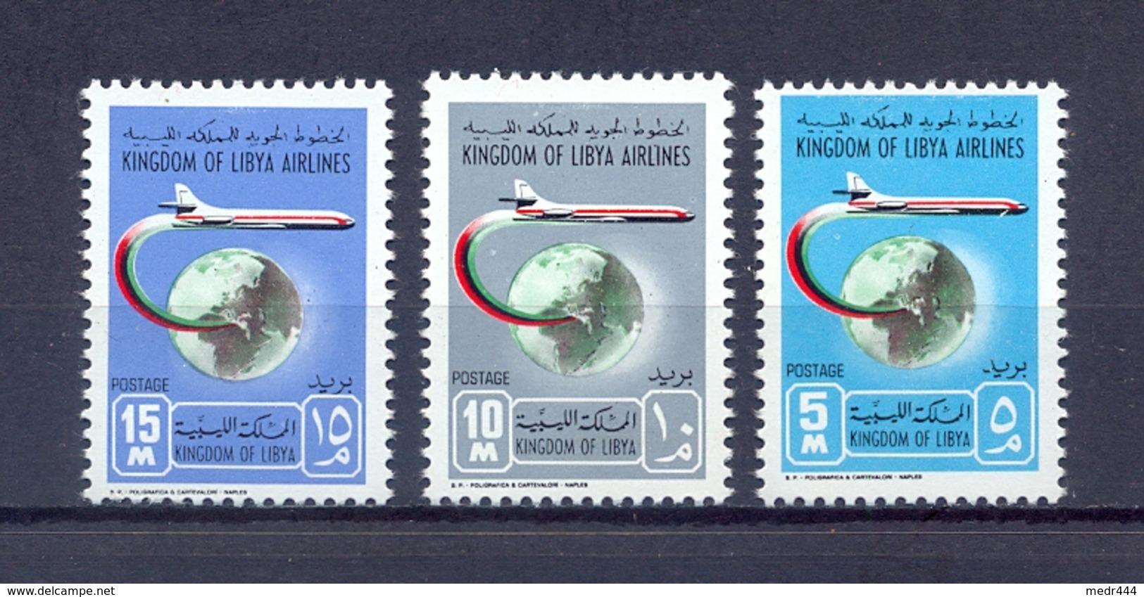 Libya 1966 - Kingdom Of Libya - 1st Anniversary Of Kingdom Libyan Airlines - Complete Set - Stamps 3v - MNH** - Libia