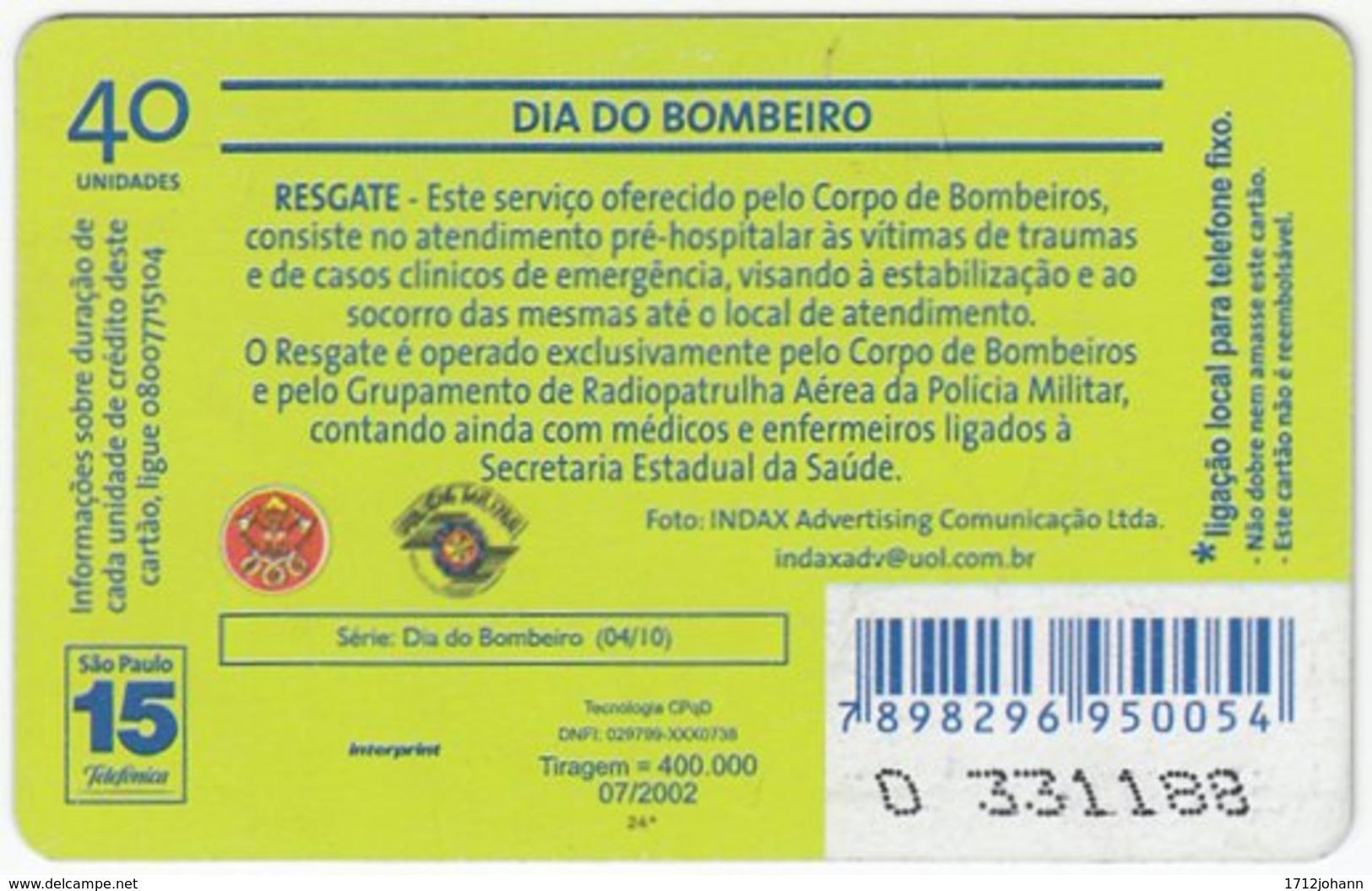 BRASIL K-607 Magnetic Telefonica - Gouverment, Fire Department - Used - Brasilien