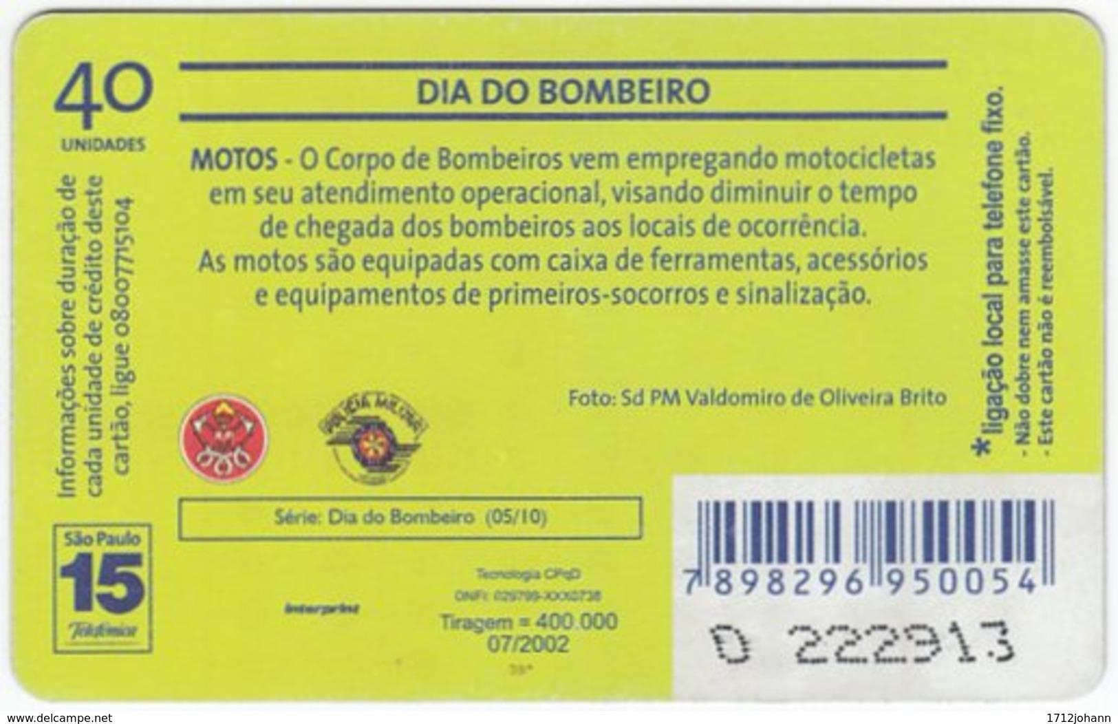 BRASIL K-608 Magnetic Telefonica - Gouverment, Fire Department - Used - Brasilien