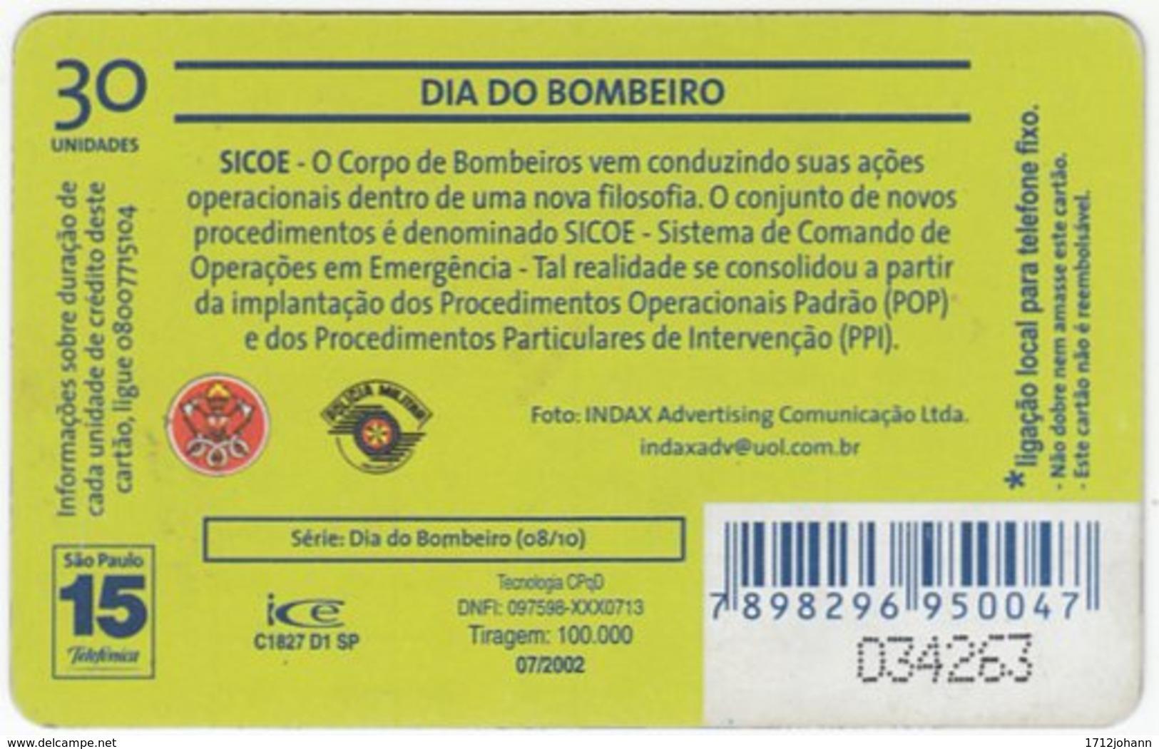 BRASIL K-611 Magnetic Telefonica - Gouverment, Fire Department - Used - Brasilien