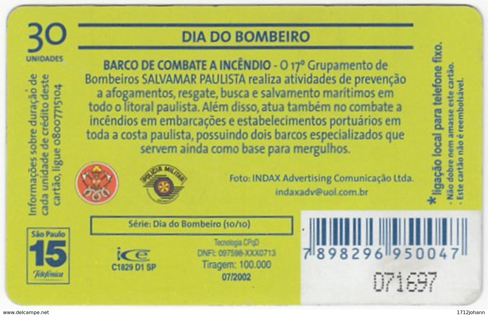 BRASIL K-613 Magnetic Telefonica - Gouverment, Fire Department - Used - Brasilien