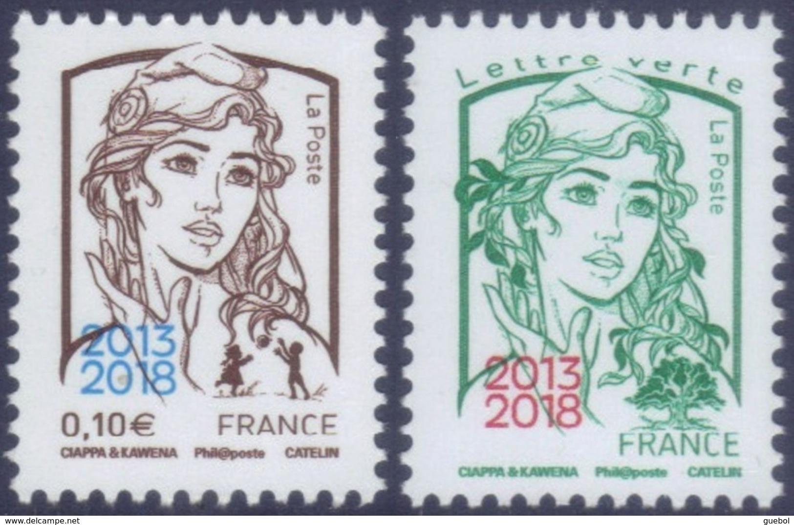 France Marianne De La Jeunesse Par Ciappa Et Kawena N° 5234 Et 5235 ** Les Gommés 0.10 Et TVP Vert Surchargés - 2013-... Marianne (Ciappa-Kawena)
